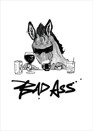 Ass Wearing Sunglasses And Drinking Wine, Bad Ass A4 Funny Print, How Funny Prints, Funny Wall Art, Humour Print
