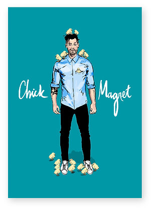 Handsome, man with chicks on him, baby chickens, blue shirt, funny card, how funny