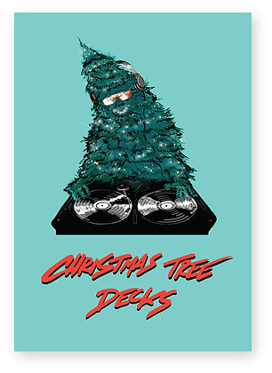 Christmas tree djing wearing sunglasses, CHRISTMAS TREE DECKS FUNNY CARD, HOW FUNNY GREETING CARD