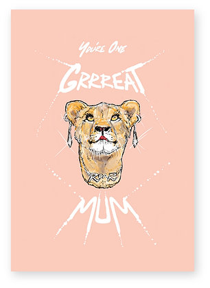 Lioness mother wearing necklace and earrings, GRRREAT MUM FUNNY CARD, HOW FUNNY GREETING CARD