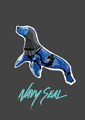 Navy Coloured Seal With Weapons,Navy Seal A4 Funny Print, How Funny Prints, Funny Wall Art, Humour Print