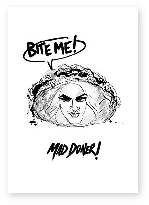 MAD DONER, MADDONA, DONER KEBAB, RUDE, FUNNY CARD, HOW FUNNY