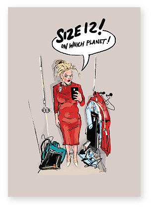 Annoyed women in changing room, Size 12 FUNNY CARD, HOW FUNNY GREETING CARD
