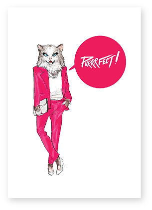 PURRRFECT, CAT IN SUIT, HIGH HEELS, BUSINESS WOMEN, CAT, FUNNY CARD, HOW FUNNY