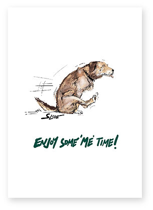BROWN DOG, PULLING BOTTOM ALONG, RUDE CARD, FUNNY CARD, HOW FUNNY