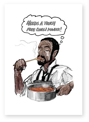 Man teary eyed tasting chilli on spoon ,TOUCH MORE CHILLI FUNNY CARD, HOW FUNNY GREETING CARD