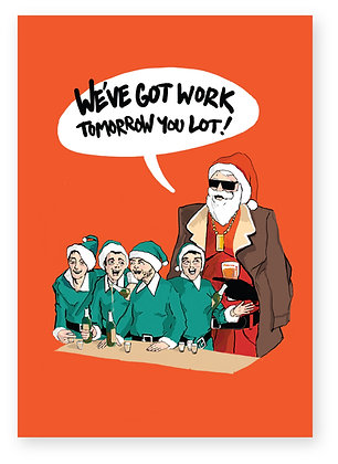 Drunk elves at a bar with Santa in sunglasses, ELF NIGHT OUT FUNNY CARD, HOW FUNNY GREETING CARD