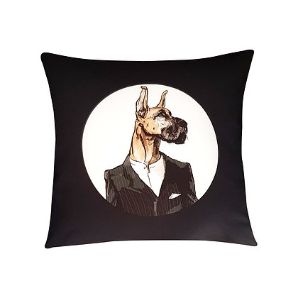 Great Dane In Grey Business Suit, The Greatest Funny Cushion, How Funny Cushion,Black and White, 45cm x 45cm, Funny Gift