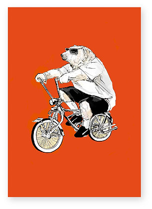 Polar bear on low rider bike, cool, sunglasses, funny card, how funny