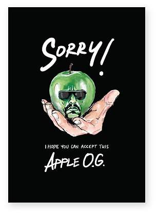 Ice T on an apple apology card, APPLE O.G. FUNNY CARD, HOW FUNNY GREETING CARD