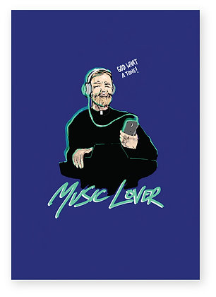 Priest enjoying listening to music in headphones, MUSIC LOVER FUNNY CARD, HOW FUNNY GREETING CARD