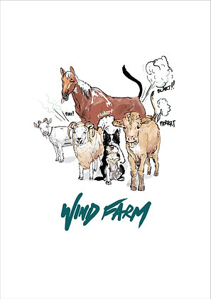Farm Animals Breaking Wind, Wind Farm A4 Funny Print, How Funny Prints, Funny Wall Art, Humour Print
