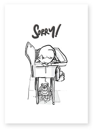 Annoyed teddy covered in food from toddler, TEDDY & TODDLER FUNNY CARD, HOW FUNNY GREETING CARD