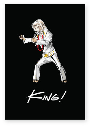 Male lion dressed as Elvis singing, KING! FUNNY CARD, HOW FUNNY GREETING CARD