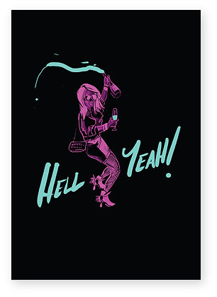Neon Girl dancing drinking champagne, HELL YEAH! FUNNY CARD, HOW FUNNY GREETING CARD