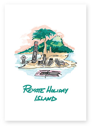Remote controls on holiday island relaxing, REMOTE HOLIDAY ISLAND FUNNY CARD, HOW FUNNY GREETING CARD