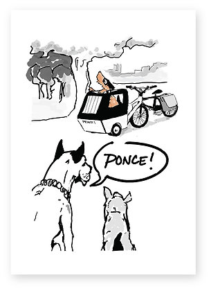 Dog in park calling dog in pram ponce, PONCE! FUNNY CARD, HOW FUNNY GREETING CARD