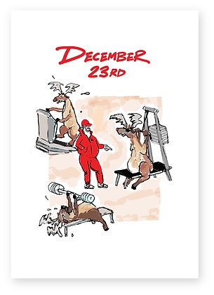 Reindeer working out at gym with unimpressed Santa, REINDEER WORKOUT FUNNY CARD, HOW FUNNY GREETING CARD