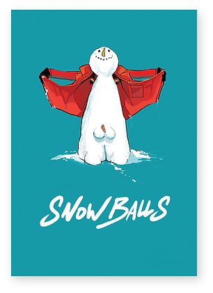 Snowman flashing his snowballs, SNOWBALLS FUNNY CARD, HOW FUNNY GREETING CARD