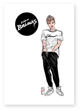 MAN WITH HANDS DOWN TROUSERS, CAN OF BEER, TRAINERS, YOUTH, FUNNY CARD, HOW FUNNY