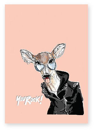 Female deer in sunglasses and leather jacket, YOU ROCK DEER FUNNY CARD, HOW FUNNY GREETING CARD