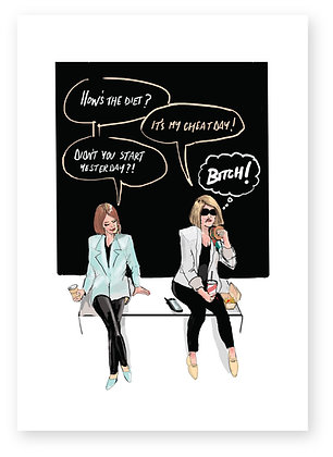 Two women having lunch bitching at each other, HOW'S THE DIET? FUNNY CARD, HOW FUNNY GREETING CARD