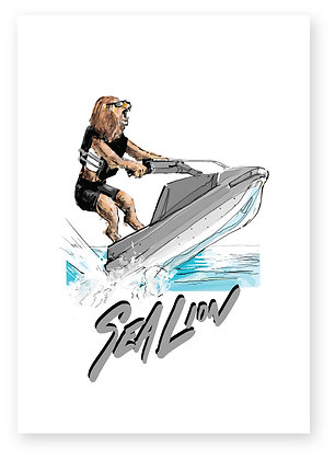 Lion riding a jet ski in the sea, SEA LION FUNNY CARD, HOW FUNNY GREETING CARD