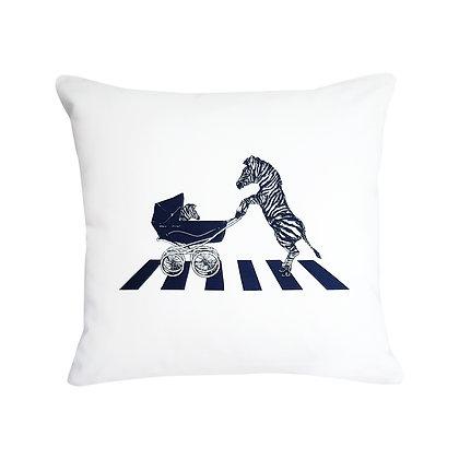 Zebra On Zebra Crossing Pushing Baby In Pram, Zebra Crossing How Funny Cushion,Black & White, 45cm x 45cm, Funny Gift