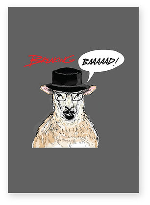 Sheep wearing hat looking like Walter White, BREAKING BAD FUNNY CARD, HOW FUNNY GREETING CARD