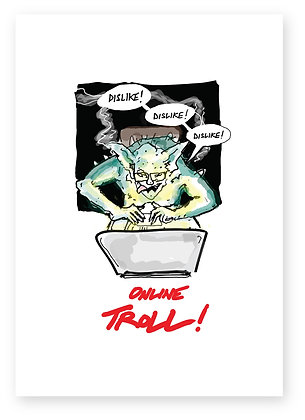 Troll on laptop in dark, ONLINE TROLL! FUNNY CARD, HOW FUNNY GREETING CARD