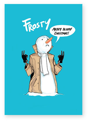 Frosty the snowman in coat making rude gestures, FROSTY FUNNY CARD, HOW FUNNY GREETING CARD