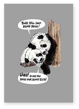 TWO PANDAS SNUGGLING ON TREE, PANDA LOVE  FUNNY CARD, HOW FUNNY GREETING CARD