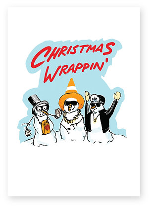 Three snowmen rappers, CHRISTMAS WRAPPIN' FUNNY CARD, HOW FUNNY GREETING CARD