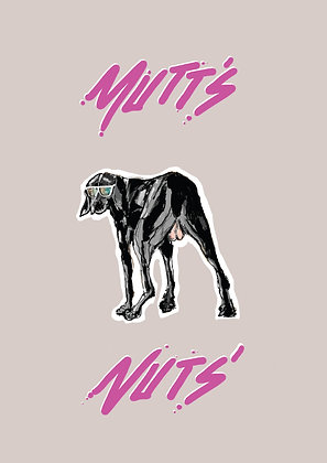 Dog In Blue Sunglasses, Mutts Nuts' A4 Funny Print, How Funny Prints, Funny Wall Art, Humour Print