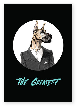 Great Dane in white shirt and grey suit jacket, THE GREATEST FUNNY CARD, HOW FUNNY GREETING CARD