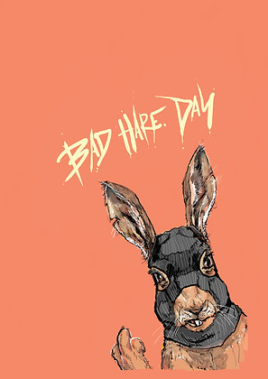 Hare In Balaclava Flippin' The Bird, Bad Hare Day A4 Funny Print, How Funny Prints, Funny Wall Art, Humour Print