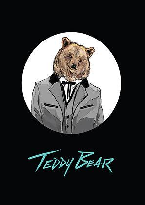 Brown Bear in Teddy Boy Suit,Teddy Bear A4 Funny Print, How Funny Prints, Funny Wall Art, Humour Print