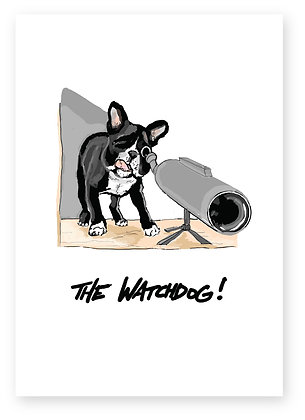 Dog watching using telescope at window, THE WATCHDOG! FUNNY CARD, HOW FUNNY GREETING CARD