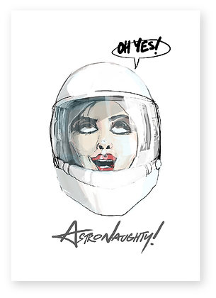 astronaught helmet, sexy women, lipstick, funny card, how funny