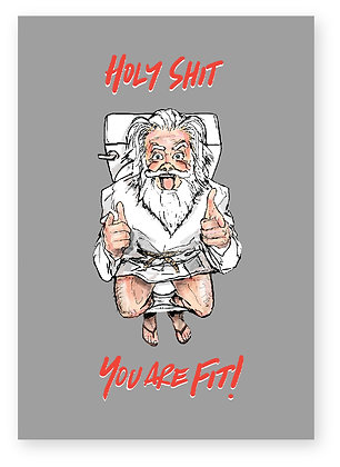 GOD SMILING SITTING ON TOILET POINTING, HOLY SHIT FUNNY CARD, HOW FUNNY GREETING CARD