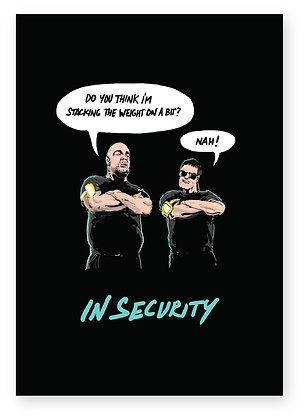 Two security guards talking outside venue, IN SECURITY FUNNY CARD, HOW FUNNY GREETING CARD