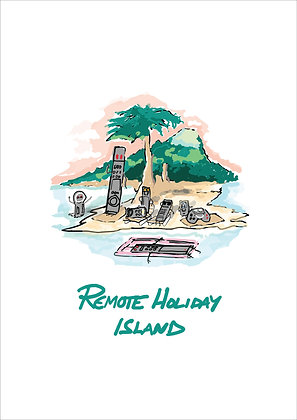 Small Island With Remote Controls Relaxing,Remote Holiday Island Funny Print, How Funny Prints, Funny Wall Art, Humour Print