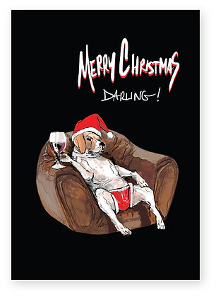 Dog on leather armchair in Santa hat with glass of wine, MERRY CHRISTMAS DARLING! FUNNY CARD, HOW FUNNY GREETING CARD