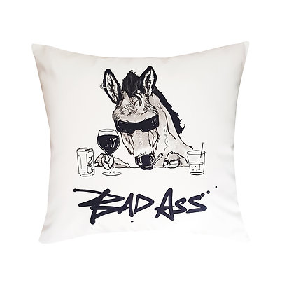 Ass Wearing Sunglasses And Drinking, Bad Ass Funny Cushion, Bad Ass How Funny Cushion, Black & White, 45cm x 45cm, Funny Gift
