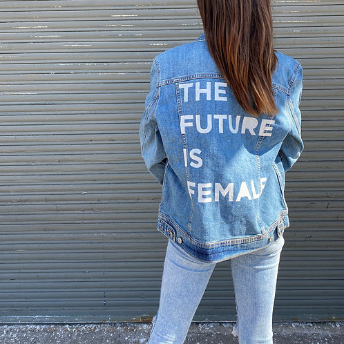 Painted Denim Printed Jacket - THE FUTURE IS FEMALE