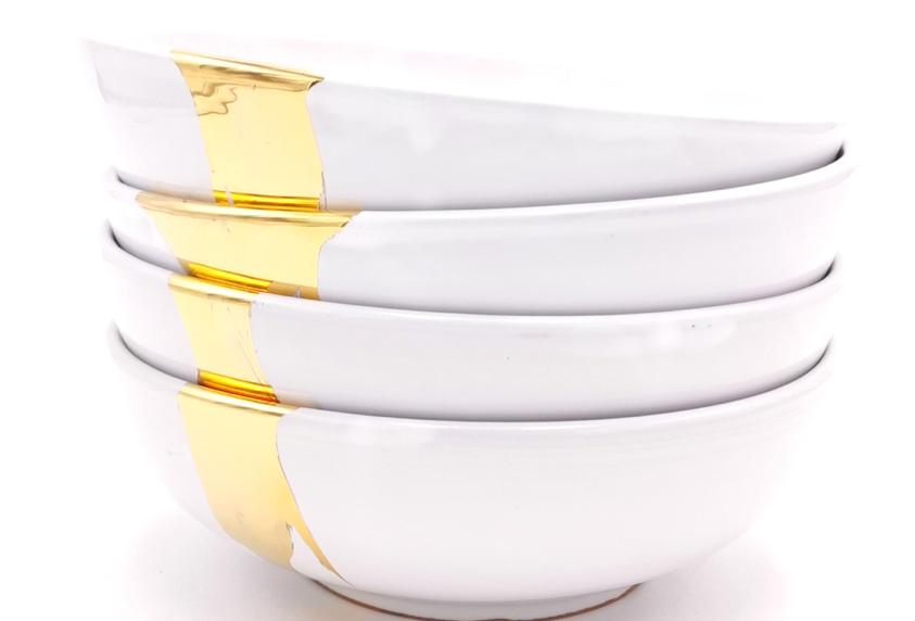 Bols & saladiers | Blanc splash or | à partir de 35 €