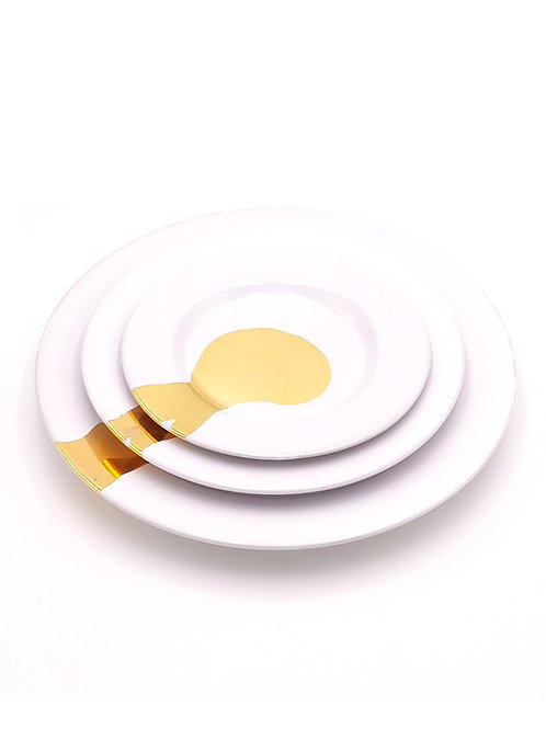 Assiettes plates | Blanc splash or | à partir de 39 €