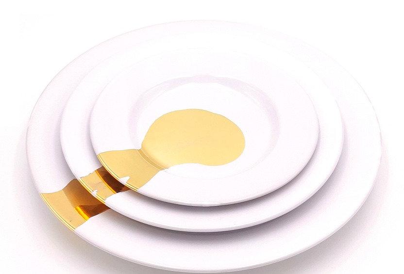 Assiettes à rebords | Blanc Splash Or | à partir de 49 €