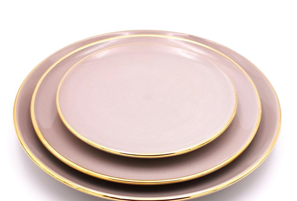Assiettes plates | Bord doré | Taupe | à partir de 32 €