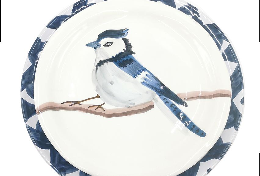 Lot de 4 assiettes plates | Geai bleu & Baroque